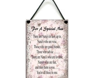 For a Special Nan Gift Handmade Wooden Nan Home Sign/Plaque 076