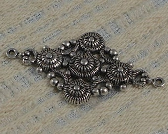 LuxeOrnaments Sterling Silver Plated Brass Filigree Focal Connector (Qty 1) F-7471-2-S