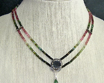 NECKLACE *** TOURMALINE NECKLACE ** * Multi Color Tourmaline and Druzy Necklace  ** Ships Free (U.S.)