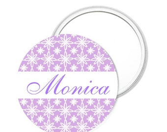 Button Lavender Floral Personalized Pocket Purse Mirror - Special Occasion Unique One-of-a-kind Gift by Lovebirdslane
