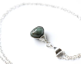 Emerald Necklace, Real Emerald Pendant, Wire Wrapped Sterling Silver Stone Necklace, May Birthstone, Green Crystal Necklace, Gifts for Mom