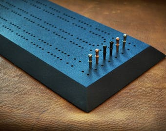 Black Textured Cribbage Board