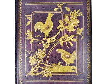 Antique Victorian Album Cover, Hen with Baby Chicks Design