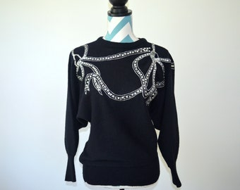 Vintage Beaded Sweater - 1970s Black Acrylic Womens Sweater with Silver Sequin Bow Embroidery - Albee - Small S