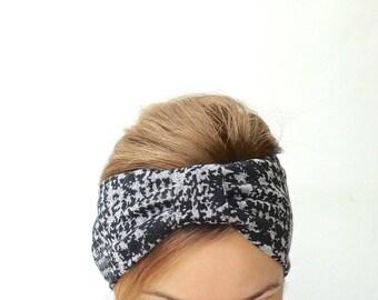 hair turban Fashion turban headband celebrity jersey stretch headwrap everyday womens retro evergreen garden summer head wrap black grey