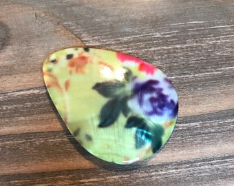Colorful Painted Shell Focal Pendant/REAL SHELL FOCAL/Shell Necklace Pendant/Blistered Shell Focal