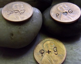 Penny favors, with initials stamped in front only, 50 pennies, Wedding favors, Lucky penny favors