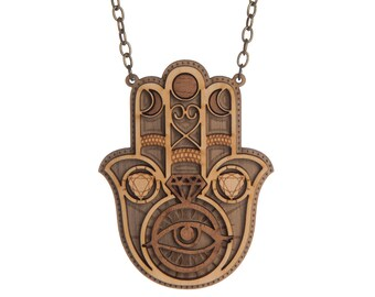 Hamsa Eye Of Protection necklace - laser cut wood