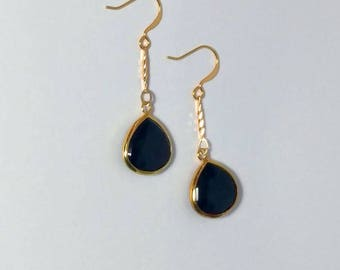 Black Onyx Earrings, Drop Earrings, Double Sided, Long Drops, Teardrop Beads, Faceted Stone, Gold or Silver