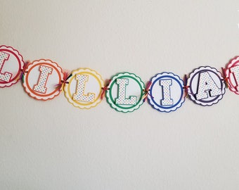 Rainbow Personalized Name Banner- Birthday, Party, Shower