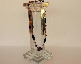 Bronze brown black glass crystal necklace