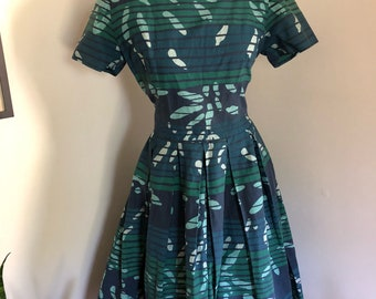 Vintage late 50's early 60's Jonathan Logan Cotton Day Dress in Dark Blue Abstract Print M