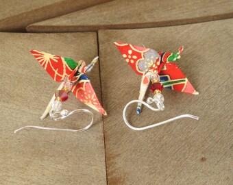 Origami Earrings, Kawaii Earring, Crane Earring, Origami Jewelry, Colorful Earrings, colorful jewelry, first anniversary, paper anniversary