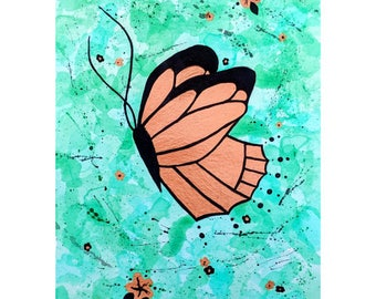 Copper Butterfly Acrylic Painting