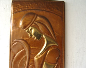 Retro Copper.Picture Image Girl  with a Bow Copper Embossing.