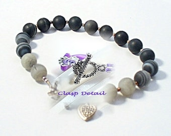 Banded Agate Bracelet Set - Simple Jewelry - Bracelet & Earrings - Chakra Bracelet -B808-1B
