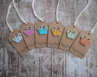 gift tag, birthday tag, handmade tag, verjaardag label, button tags, kraft tag, handgemaakte labels