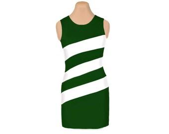 Green + White Diagonal Stripe Dress