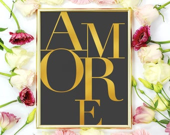 """Love Poster """"Amore"""", Love Quote, Love Print, Typography Poster, Minimalist Poster, Home Art, Gold Print, Modern Wall Art."""