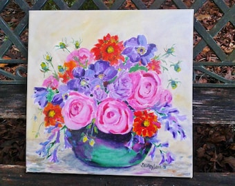Rose painting, Rose art, cheerful art, multicolor floral original, 12x12, pink purple and orange flowers, bright color floral art
