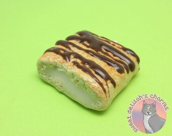Boston Cream Pie Toaster Strudel Charm - Choose your attachment! polymer clay, jewelry, keychain, necklace, phone strap, dust plug, key ring