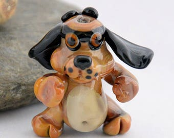 KUNG FOO puppy dog sculpture focal glass lampwork bead, Izzybeads SRA