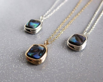 Abalone necklace. Bridesmaid necklace. Sterling silver wire wrapped paua shell.
