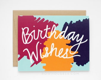 Birthday Card - Birthday Wishes - Happy Birthday Card - Aqua, Purple, Pink, Yellow
