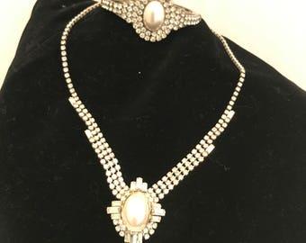 Stunning Vintage Art Deco Adjustable Necklace and Bracelet Set Rhinestone Faux Pearl Holiday Party Christmas Hanukkah Gift