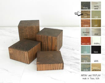 Wood Jewelry Displays Platforms Risers Set of 4, Wood Platforms, Wooden Block Risers, Craft Show Booth Displays, Retail Fixtures