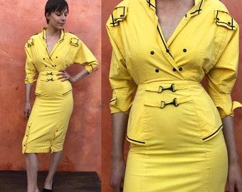 Vintage 1980s 1990s Yellow Black Avante Garde Dress. Metal clips. Dolman sleeves. Batwing Peplum Wiggle dress. xs Size 0 2 STATEMENT dress
