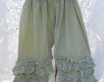 Bloomers Pants Trousers Plus Regular size linen pale green festival quirky funky Larp Cosplay Southern Gothic RitaNoTiara layer look boho