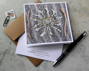 Black Sand Mandala Card ~ One 5x5 Square Note Card (with envelope, blank inside, no message)