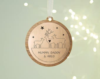 Personalised Christmas Bauble Stag Family Wooden