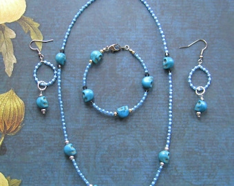 Beaded Day of the Dead Necklace, Bracelet and Earring Set