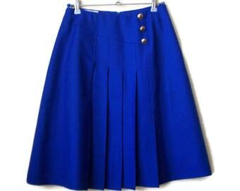 Vintage Blue Skirt, Retro skirt, High waisted skirt, Womens skirt, Size S