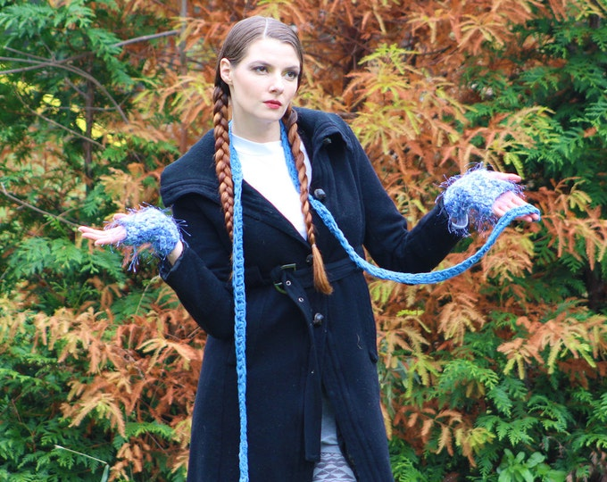Fuzzy Blue Fingerless Gloves and Skinny Scarf  Set Long Soft Accesory  Gift for Girls, Teens or Women