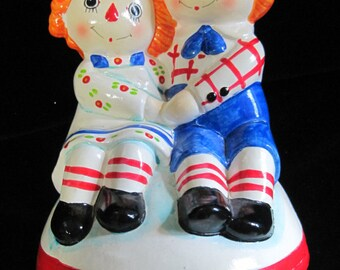 Music Box, Raggedy Ann & Andy, Music Figurine, Sankyo, Made in Japan, Vintage