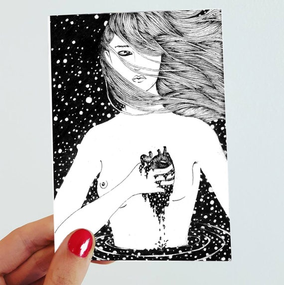 Ilaria. Postcard drawing //small size art // black and white art // illustration // figurative art // woman // surreal art