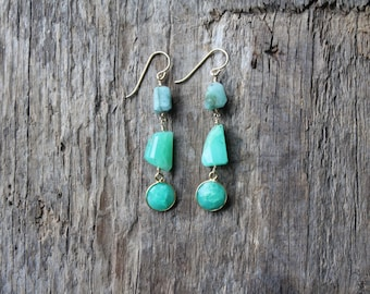 Chrysoprase and Emerald Mixed Stone Earrings-Gold