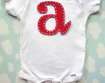 Felt Stitchy Letter Onesie with Overnight Shipping