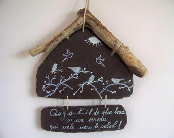 Slate natural Decoration garden birdhouses hanging wall-