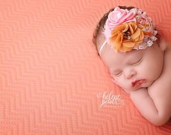 Autumn Darling - pink, pumpkin mustard rosette  and chiffon flower headband bow