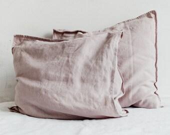 Linen Pillowcase Powder Pink / Decorative Linen Pillow Covers / Pure Linen Case / Linen Cushion / Throw Pillows / Super Soft / Pillow Shams.