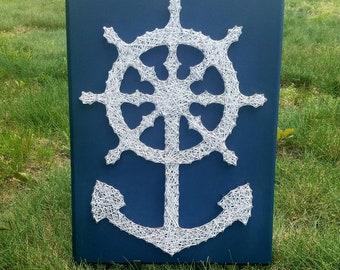Nautical Wheel and Anchor String Art