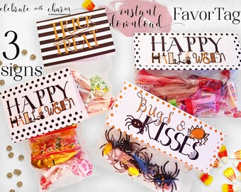 Halloween Favor Tags | Treat Tags | Trick or Treat | Bugs and Kisses | Instant Download | Printable