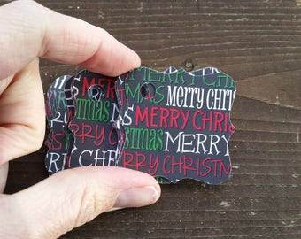 24 Red, Black, Green and White MERRY CHRISTMAS Gift Tags Feature - hang tags