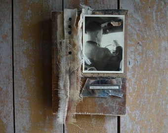 Rear View. Original Mixed Media Collage Assemblage Art,Wood,Mixed Media Art,Primitive Art,Wall Hanging Sculpture,Men,Emotional,Found Objects