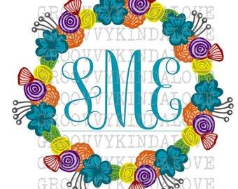 Floral Wreath Monogram Flower Wedding Initials Print Cut Invitations HTV T Shirt Transfer Vinyl Design Decor DXF SVG