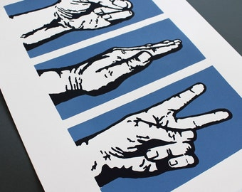 Rock, Paper, Scissors Limited Edition Screenprint